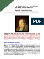 Hegel, Tesis y Antítesis; Síntesis y Antisíntesis (Una Nueva Teoría, Sobre La Dialéctica). Por Angel Gómez-Morán Santafé