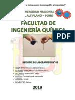 INFORME DE LABORATORIO N° 03 FENÓMENOS DE TRANSPORTE