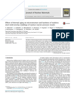 Effects of thermal aging on microstructure and hardness of stainless steel weld-overlay claddings of nuclear reactor pressure vessels
