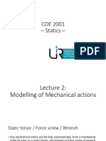 COE 2001 Statics - Lecture 2 - Modelling of Mechanical Actions