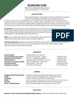 duncan coe - film production resume