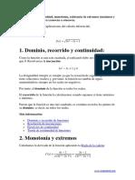 Estudio de La Continuidad Extremos Monotonía y Curvatura de Una Función
