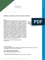 FALCÃO, Luiz Felipe. Artifícios e Artefatos Entre Memória e História
