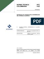 NTC 1423 -1978 Materiales de Contruccion. Determinacion Del Potencial Calorifico