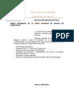 Modelo Inscripción de  Título de Abogado en la Corte