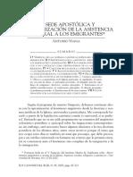 La Sede Apostolica y La Organizacion de La Asistencia Pastoral a Los Emigrantes