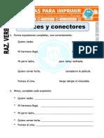 Ficha de Enlaces y Conectores Para Segundo de Primaria