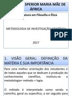 METODOLOGIA CIENTIFICA. Ismma 2017