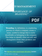 Importance and Intro BRAND MANAGEMENT
