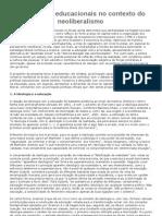 AS POLÍTICAS EDUCACIONAIS NO CONTEXTO NEOLIBERALISMO