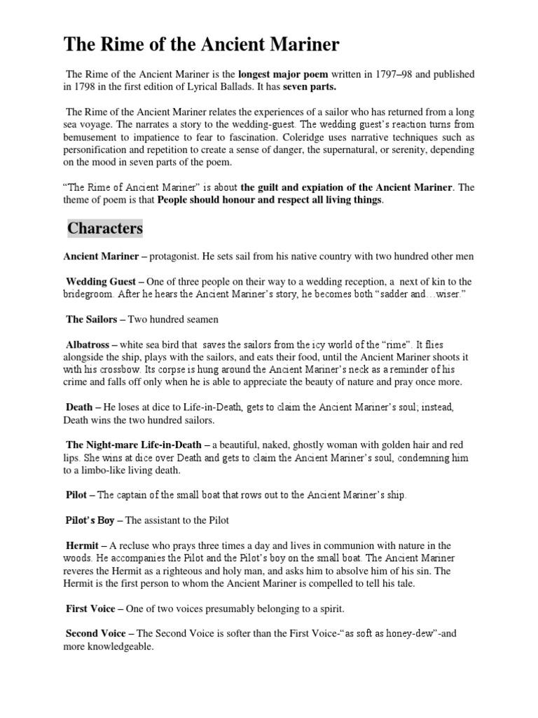 The Rime Of Ancient Mariner Docx Samuel Taylor Coleridge British Poetry Part V Summary
