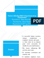 Factors Affecting HRM in Departments of an Organization Latest