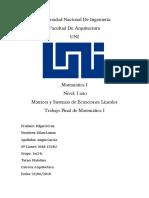 Universidad Nacional De Ingeniería - Trabajo Final de Matemática I - Matrices y Sistemas de Ecuaciones Lineales.docx