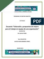 Encuesta Valoración y Propuestas de Mejora Para El Trabajo en Equitrabajopo de Una Organización