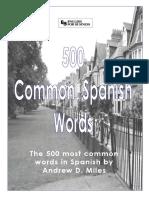 500 Common Words Spanish to English