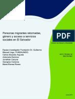 Personas Migrantes Retornadas Genero y Acceso a Servicios Sociales en El Salvador