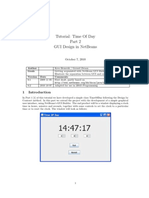 Tutorial: Time Of Day Gui Design In Netbeans: October 7, 2010 | Net Beans |  Graphical User Interfaces