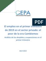 El Empleo en El Primer Trimestre de 2019 en El Sector Privado, El Peor de La Era Cambiemos