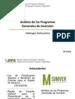 Análisis de los Programas  Generales de Inversión