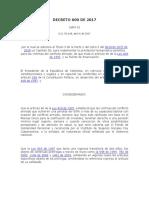 Decreto 600 de 2017 Pensión Víctimas Conflicto