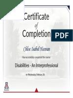 module completion disabilities - an interprofessional exercise 2018 heenan
