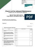 Check List for Onboard Maintenance, BULK