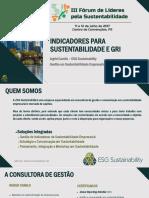 Palestra Fórum de Lideres Para a Sustentabilidade - Ingrid Camilo dos Santos