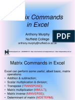 Matrix calculation in Excel