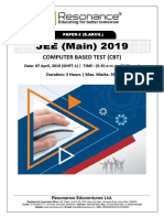JEE Main 2019 Paper 2 B.Arch Attempt Shift - 1(07th April, 2019)
