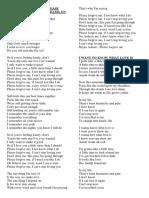 Letra de La Canciones en Ingles PDF