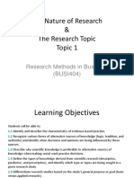 Topic 1- The Nature of Research