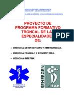 Proyecto Troncal de la Especialidad de Medicina de Urgencias y Emergencias