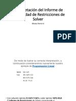 Interpretación Del Informe de Sensibilidad de Restricciones De