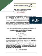 Estabilidad Laboral Reforzada 6.1. CSJ-SL 2019 01 29