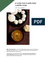 Tiffin Sambar Recipe