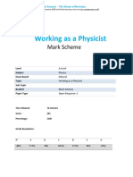 1.1 Working as a Physicist Open Response MS a Level Edexcel Physics