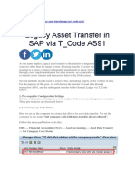 Legacy Asset Transfer in SAP via T_Code AS91