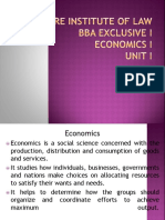 Unit I Inroduction to Economics