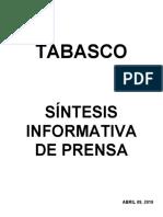Sintesis Informativa de Prensa 09 04 2019