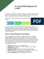 3 - How to create RFQ