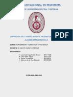 Valores de La Empresa Alianza Metalurgica (Final)