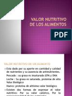 Valor nutritivo de los alimentos