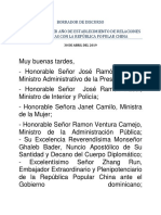 Discurso del Canciller Miguel Vargas en el Primer Aniversario Relaciones RD-China