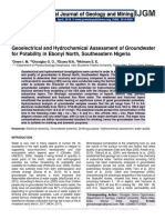 Geoelectrical and Hydrochemical Assessment of Groundwater for Potability in Ebonyi North, Southeastern Nigeria