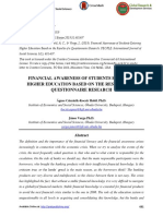 FINANCIAL AWARENESS OF STUDENTS ENTERING HIGHER EDUCATION BASED ON THE RESULTS OF A QUESTIONNAIRE RESEARCH