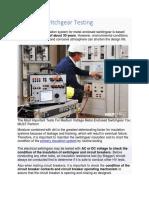 Electrical Switchgear routine Testing