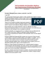 Rezoluție PSRM, 1 mai 2019