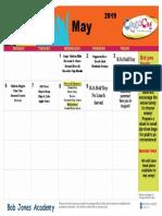 may menu calendar 2019