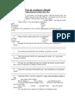Test de Evaluare Finala Clasa a Iiia a Lb. Romana