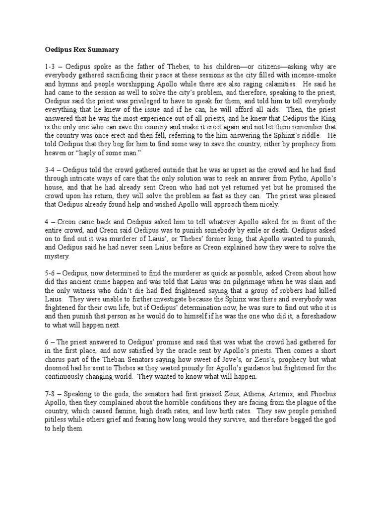 oedipus rex summary by pages oedipus ancient greek religion